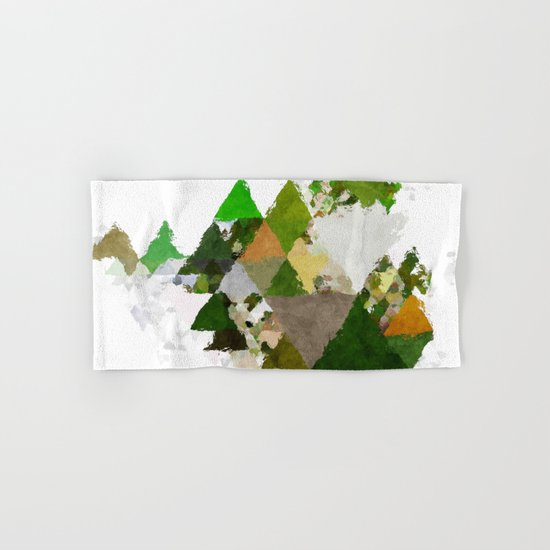 Spring Triangles - Fresh green and white triangle pattern - Greenery on #Society6 Hand & Bath Towel