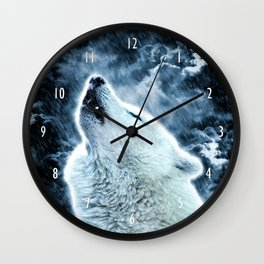 A howling wolf in the rain Wall Clock