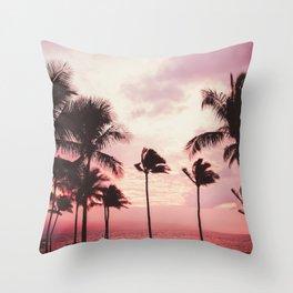 Tropical Palm Tree Pink Sunset Throw Pillow