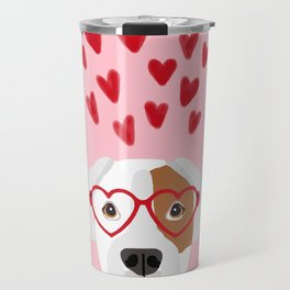 Boxer heart glasses hearts valentines day cute dog gifts rescue dog pure breed boxers Travel Mug