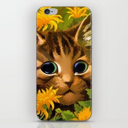 """Louis Wain's Cats """"Tabby in the Marigolds"""" iPhone Skin"""
