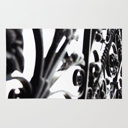 Black and White Abstract Patterned Metal Gate Design Rug