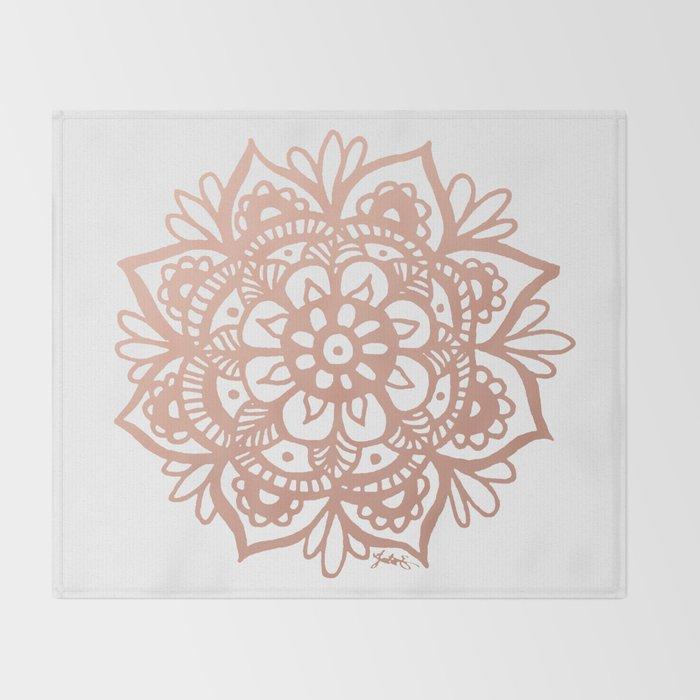 Rose Gold Mandala Throw Blanket