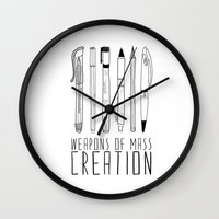 black Wall Clocks featuring weapons of mass creation by Bianca Green