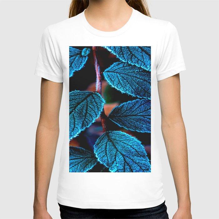 Peacock Blue Leaves Nature Background #decor #society6 #buyart T-shirt