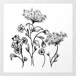 Ink Floral Illustration Art Print