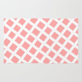 Coral Pink & White Diagonal Grid Pattern - Black & Pink - Mix & Match with Simplicity of Life Rug