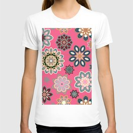 Flower retro pattern in vector. Blue gray flowers on pink background. T-shirt