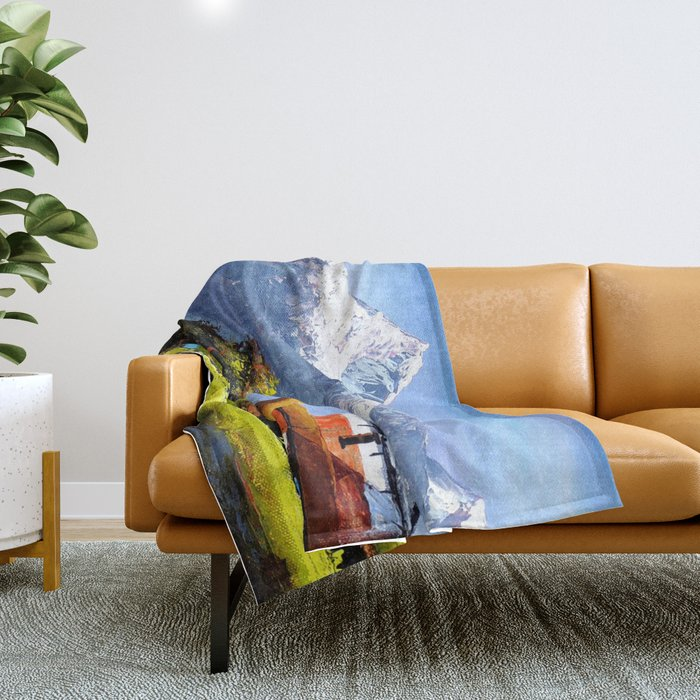 Panoramic View Of Beautiful Everest Mountain Throw Blanket