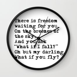 What if you fly? Vintage typewritten Wall Clock