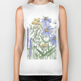 Asters and Wild Flowers Botanical Nature Floral Biker Tank