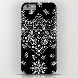 black and white bandana pattern iPhone Case