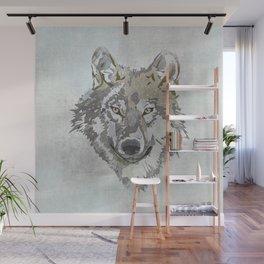 Wolf Head Illustration Wall Mural