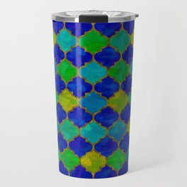 Ocean Breeze -Watercolor Moroccan Lattice Travel Mug