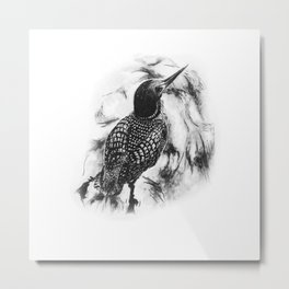 Loon Swimming in Lake by annmariescreations Metal Print