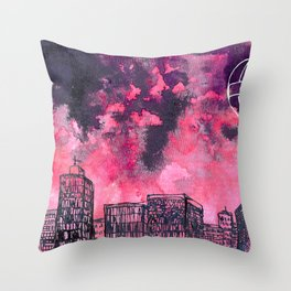 building watercolor city Throw Pillow