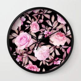 FLORAL PINK & BLACK Wall Clock