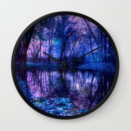Enchanted Forest Lake Purple Blue Wall Clock