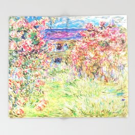 MONET : The House Among the Roses Throw Blanket