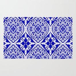 BOHEMIAN PALACE, ORNATE DAMASK: BLUE and WHITE Rug