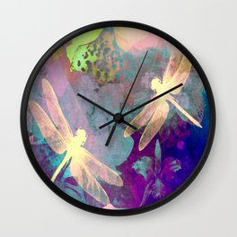 Painting Dragonflies and Orchids A Wall Clock