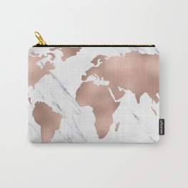 Marble World Map Rose Gold Pink Carry-All Pouch