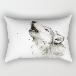 Wolf Howling Watercolor Animals Painting Black and White Rectangular Pillow