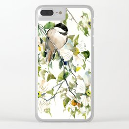 chickadee and dogwood Clear iPhone Case