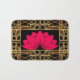 Art Deco Retro Lotus (amaranth-black) Bath Mat