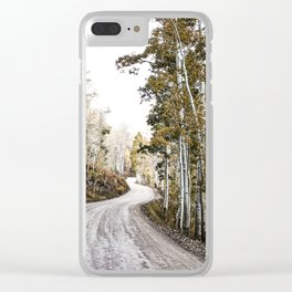 A Winding Autumn Road Clear iPhone Case