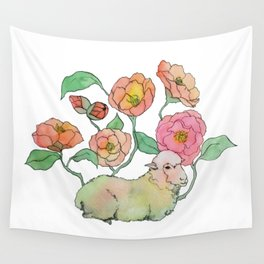 A lamb in camelia Wall Tapestry