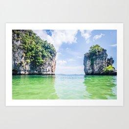 Clear Water and White Limestone Cliffs in Thailand Fine Art Print Art Print