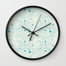Blue Scribbles Pattern 04 Wall Clock