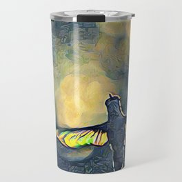 Golden Blue Hummingbird by CheyAnne Sexton Travel Mug