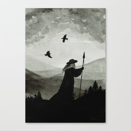 Odin, Huginn and Muninn. Canvas Print