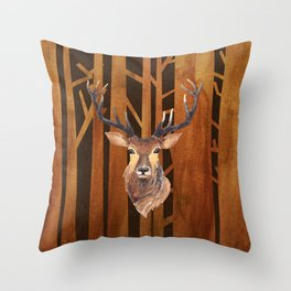 Proud deer in forest 1- Watercolor illustration Throw Pillow