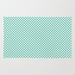 Lucite Green and White Polka Dots Rug