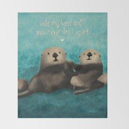 Sea Otters in Love Throw Blanket