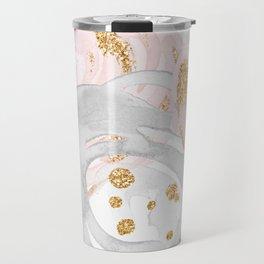 Roses Gold Glitter Pink by Nature Magick Travel Mug