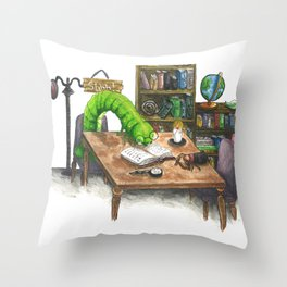 Little Worlds: The Library Throw Pillow