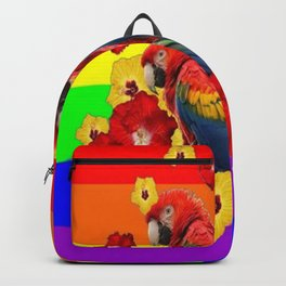 TROPICAL RAINBOW ART MACAWS & RED YELLOW HIBISCUS Backpack
