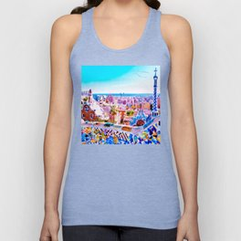 Park Guell Watercolor painting Unisex Tank Top