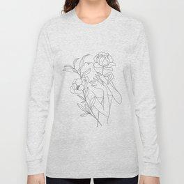 Minimal Line Art Woman with Peonies Long Sleeve T-shirt