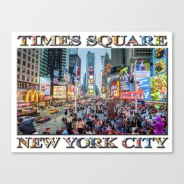 Times Square Tourists (with type) Canvas Print