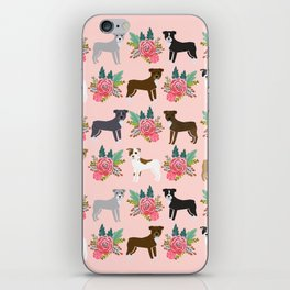 Pitbull Terrier flowers cute dog art pet portraits custom dog breed must have pitbull owner gifts iPhone Skin