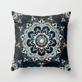 Glowing Spirit Mandala Blue White Throw Pillow
