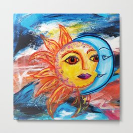 Sun and Moon United Metal Print