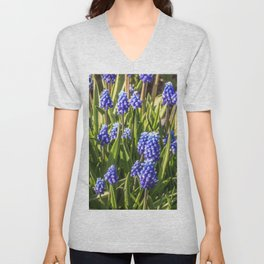 Grape hyacinths muscari Unisex V-Neck