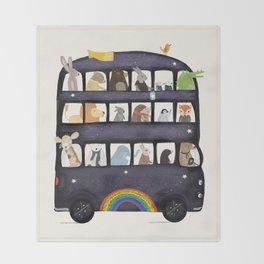 the rainbow bus Throw Blanket
