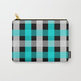blue black checks Carry-All Pouch